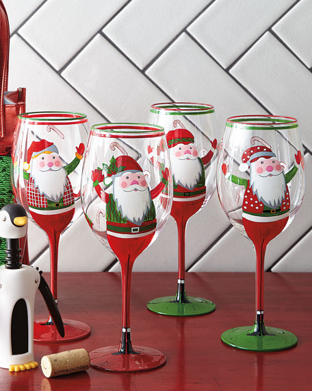 Hand-Painted Santa Wine Glasses, Set of 4