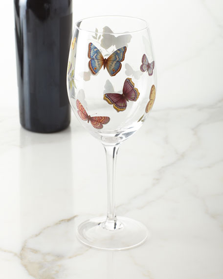 Neiman Marcus Butterfly Applique Wine Glasses, Set of