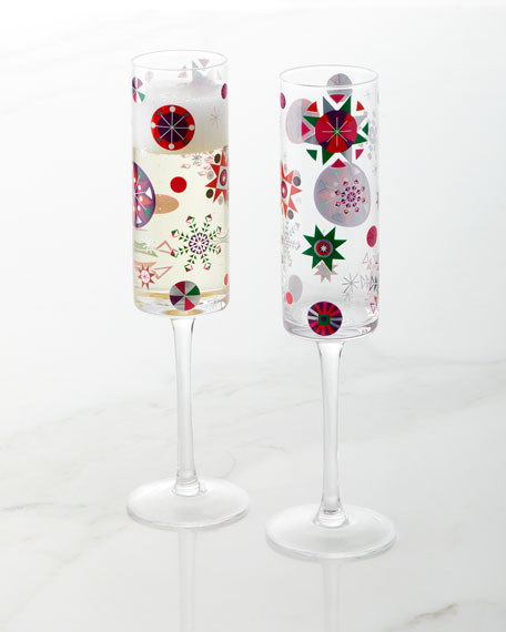 2018 Crazy Good Cheer Champagne Flutes, Set of 4