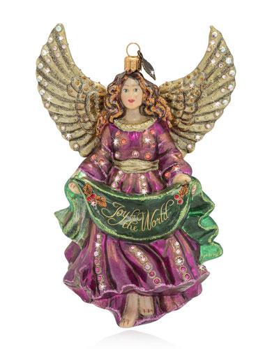 Joy to the World Angel Glass Christmas Ornament
