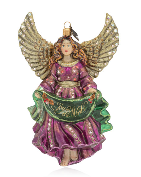 Joy to the World Angel Glass Christmas Ornament