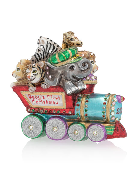 Jay Strongwater Baby's First Christmas Train Christmas Ornament
