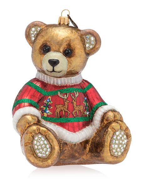 Teddy Bear Glass Christmas Ornament