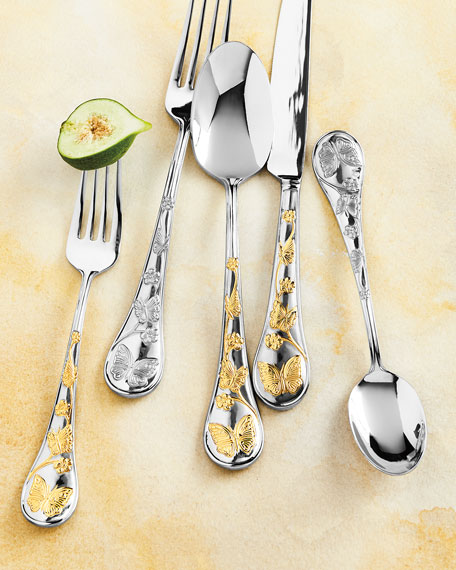 20-Piece Gold Accent Butterfly Flatware Set