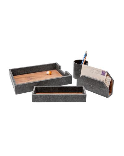Crosby Faux-Shagreen Desk Organizer Accessory Set
