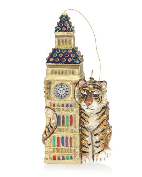 Jay Strongwater Big Ben with Tiger Glass Christmas