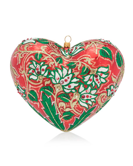 Floral Heart Glass Christmas Ornament