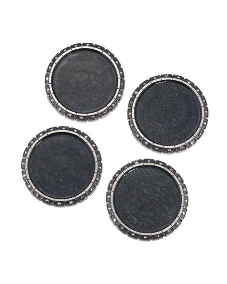 Jay Strongwater Jeweled Edge Coasters, Set of 4