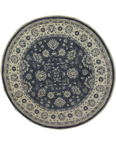 One-of-a-Kind Hand-Knotted Rug  8'Dia.
