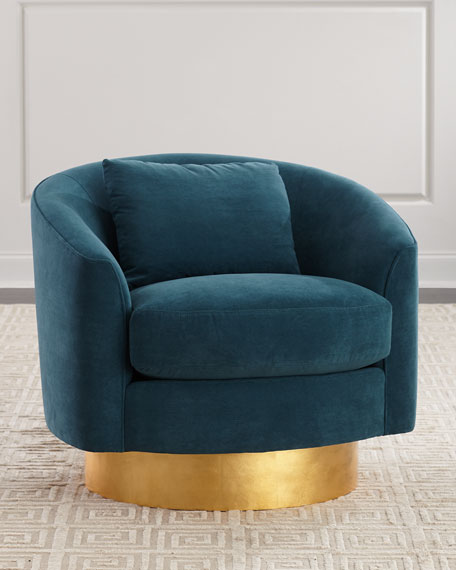 Peacock Velvet Swivel Chair