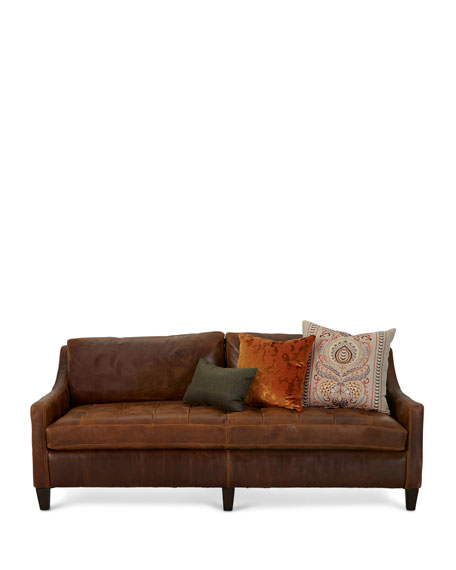 Markel Biscuit Tufted Leather Sofa