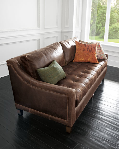 Markel Biscuit Tufted Leather Sofa 84""