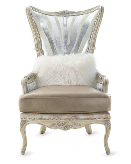 Shimmer Zebra Leather Wing Chair