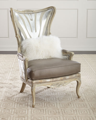 Exceptionnel Shimmer Zebra Leather Wing Chair