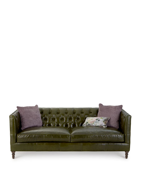 Teighlor Tufted Leather Sofa 84""