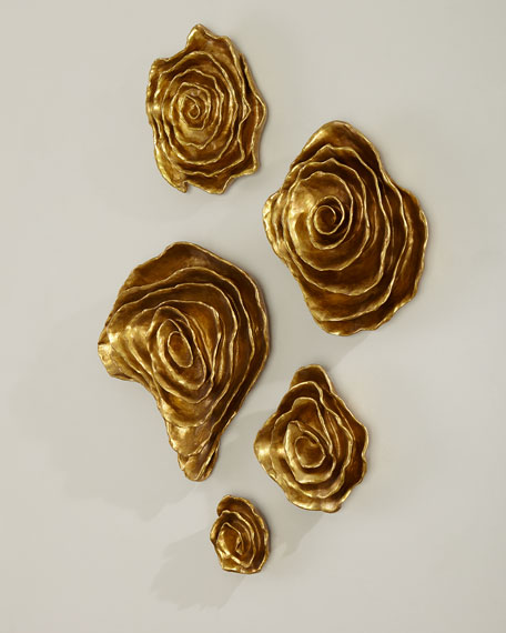 Freeform Floral Wall Plaques - Golden Finish, Set of 5