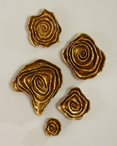 Freeform Floral Wall Plaques - Golden Finish  Set of 5