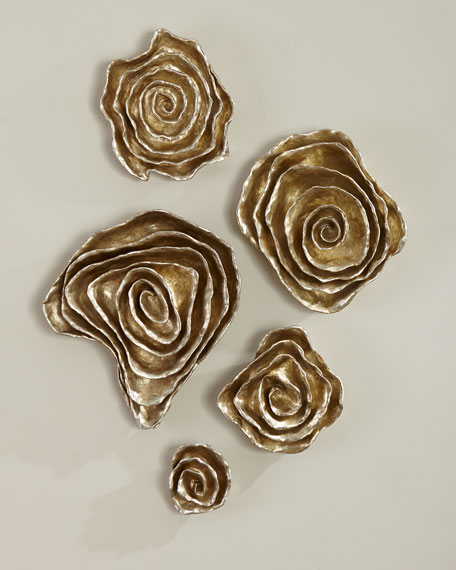Freeform Floral Wall Plaques - Champagne Finish, Set