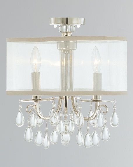 Hampton 3-Light Chrome Clear Crystal Drum Shade Chandelier