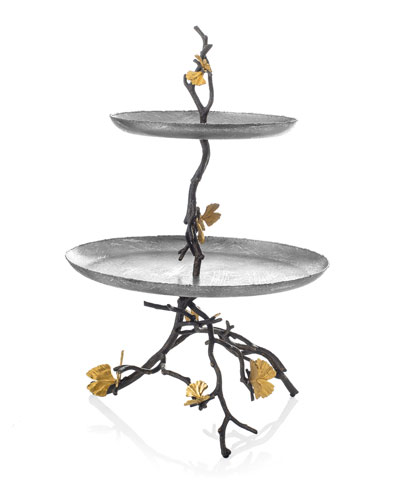 Butterfly Gingko 2-Tier Etagere