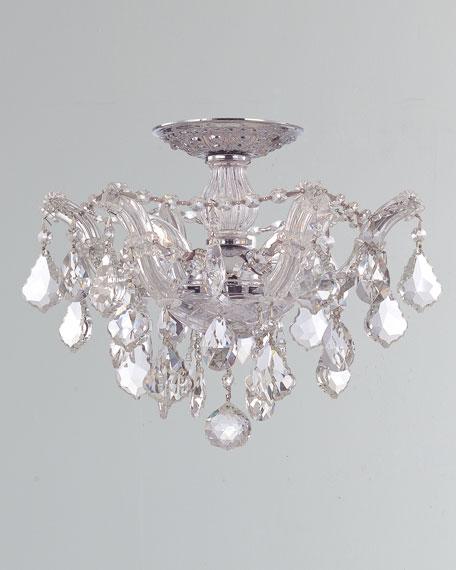 Maria Theresa Hand-Cut 3-Light Clear Crystal Semi Flush