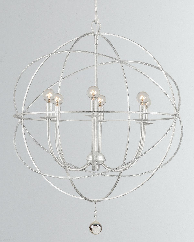 Crystoramasolaris 6 Light Silver Sphere Chandelier