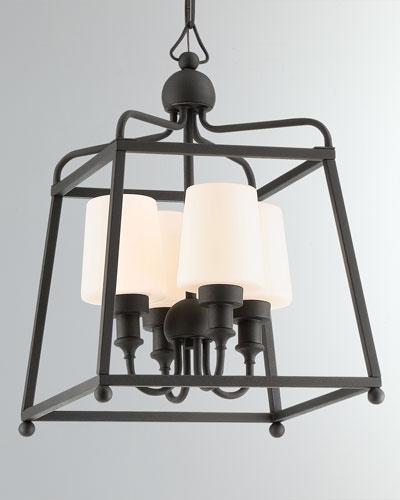 Libby Langdon Sylvan 4-Light Black Forged Outdoor Chandelier