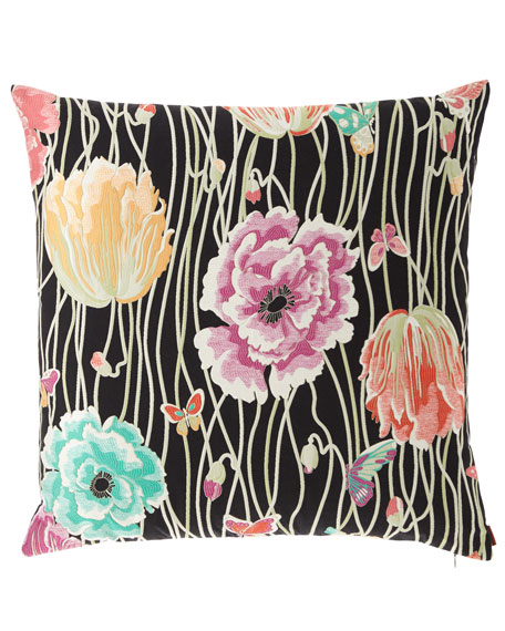 "Valmadera Poppies Jacquard Pillow, 24""Sq."