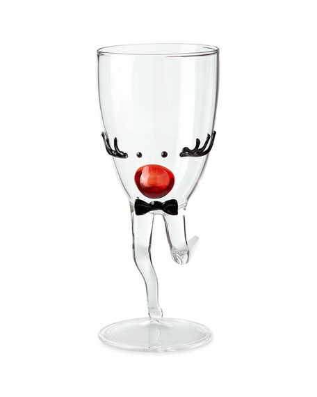 Mr. Reindeer Drinking Glass with Stem