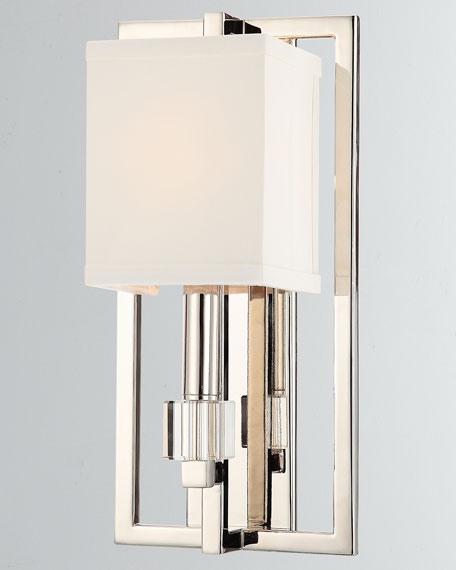 Dixon 1-Light Polished Nickel Sconce with Drum Shade