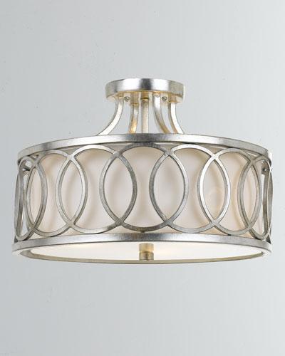 Graham 3-Light Antiqued Silver Ceiling Mount