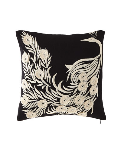 Peacock Embroidery Pillow
