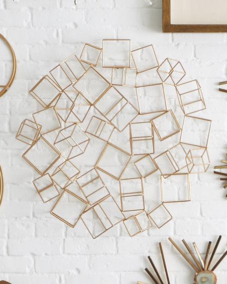 Golden Metal Cube Wall Decor