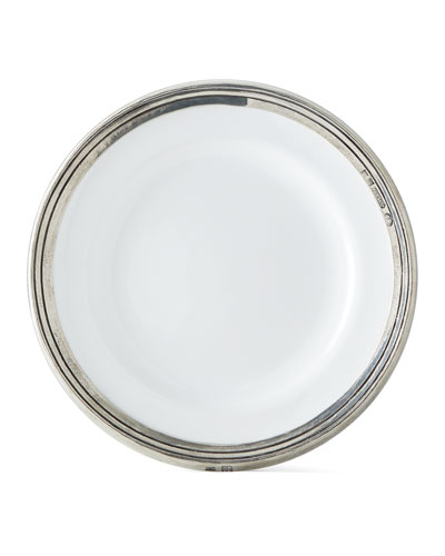 Pewter and Ceramic Dessert Plate