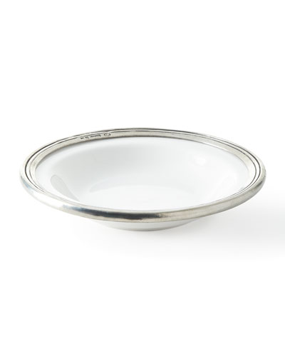 Pewter and Ceramic Soup Bowl