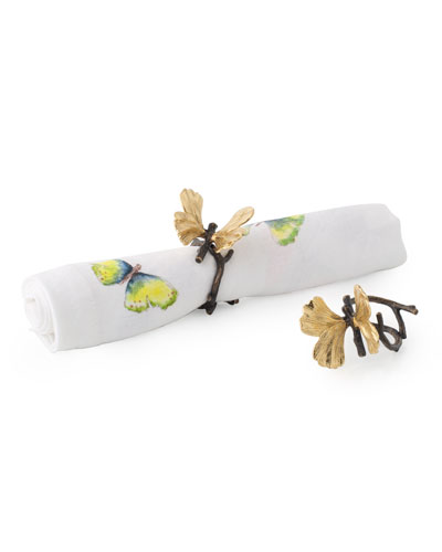 Butterfly Ginkgo Napkin Rings, Set of 4