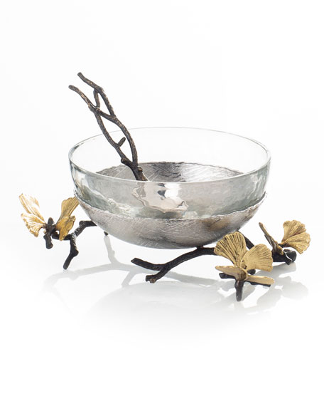 Butterfly Ginkgo Glass Nut Dish with Spoon