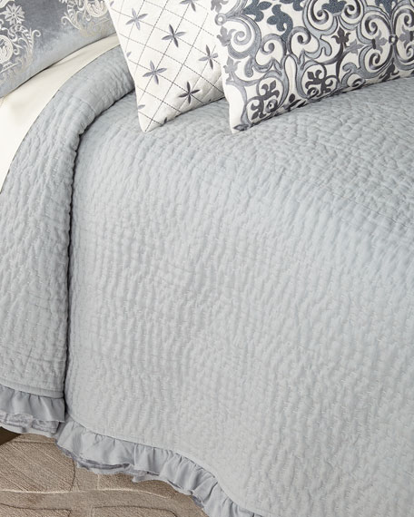 Darboux Pickstitch Linen Queen Coverlet