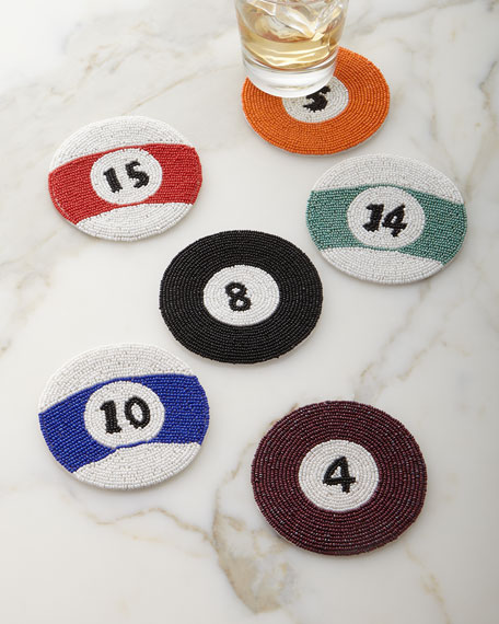 Kim Seybert Pool/Billiards Cue Ball Coasters, 6-Piece Set
