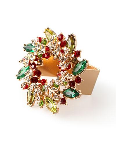 Gem Wreath Napkin Rings  Set of 4
