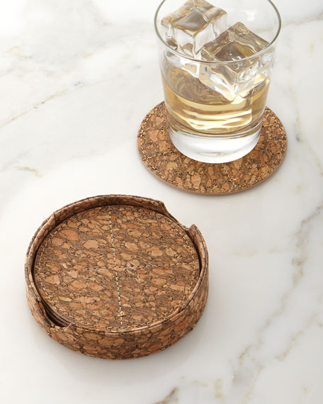 Kim Seybert Metallic-Flecked Cork Coasters, 6-Piece Set