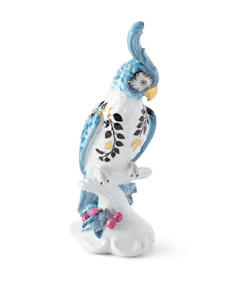 Christian Lacroix Porcelain Cockatoo Candleholder - Left Facing