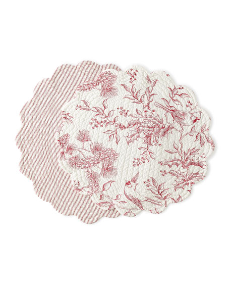 Evergreen Toile Round Placemats, Set of 4