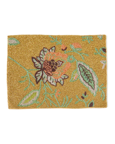 Floral Motif Hand-Beaded Placemat