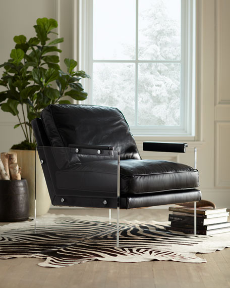 Alter Lucite-Arms Leather Chair