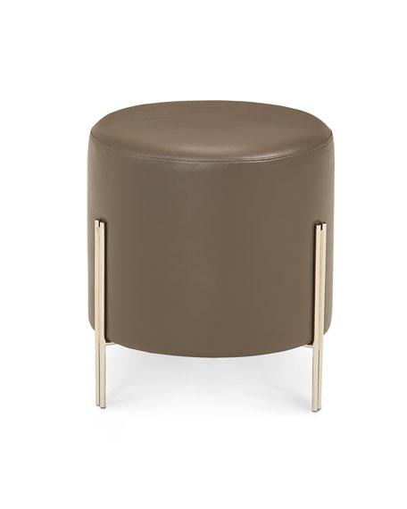 Strange Betina Faux Leather Round Ottoman Stool Machost Co Dining Chair Design Ideas Machostcouk