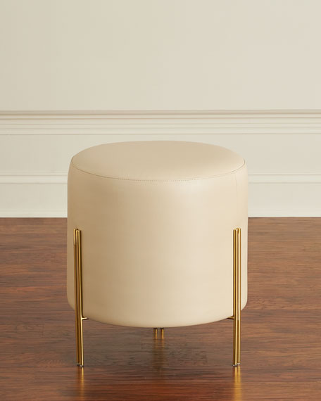 Interlude Home Bobbie Faux-Leather Round Ottoman/Stool