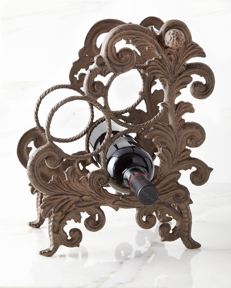 Metal Acanthus Leaf Three-Bottle Wine Holder