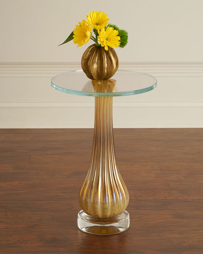 Sculpted Glass Martini Side Table