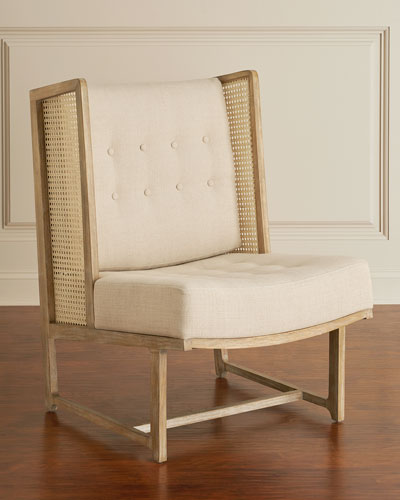 Driftwood Cane Accent Wing Chair